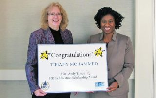 Andy Thiede Awards HR Certification Scholarship to Tiffany Mohammed